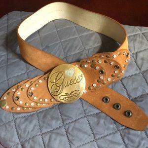 Guess brown suede logo belt